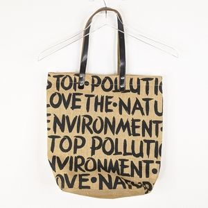 Stop Pollution Shoulder Tote Recycle Bag
